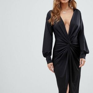NWT ASOS Black twist front dress